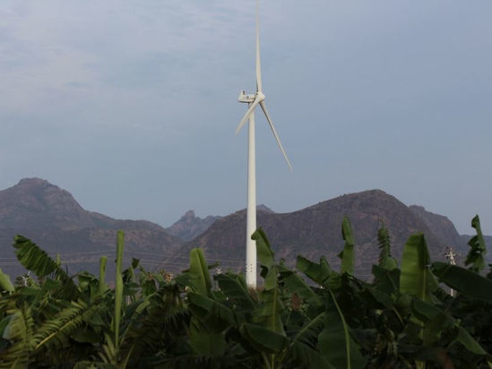 Electric windmill in the tropical forest